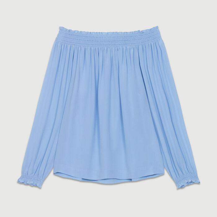 Top in seta con spalle nude : Majexclusive colore Blu Jeans