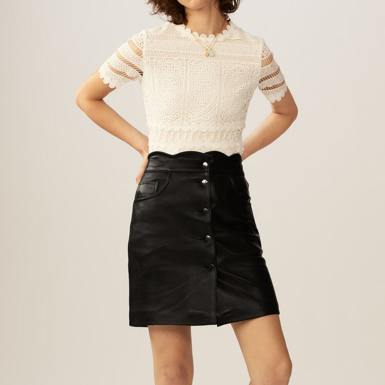 Gonna corta in pelle : Gonne e shorts colore Nero