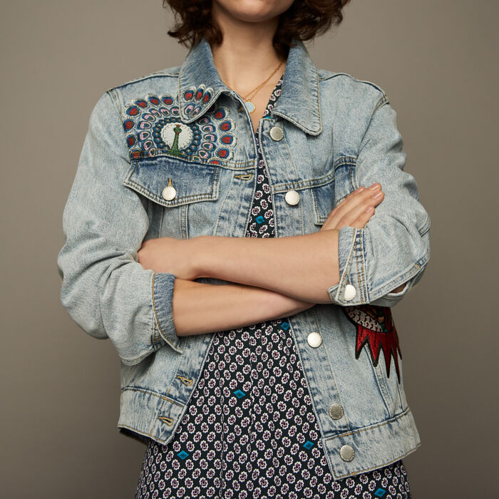 Giacca di jeans con ricami : Giubbotti colore Denim