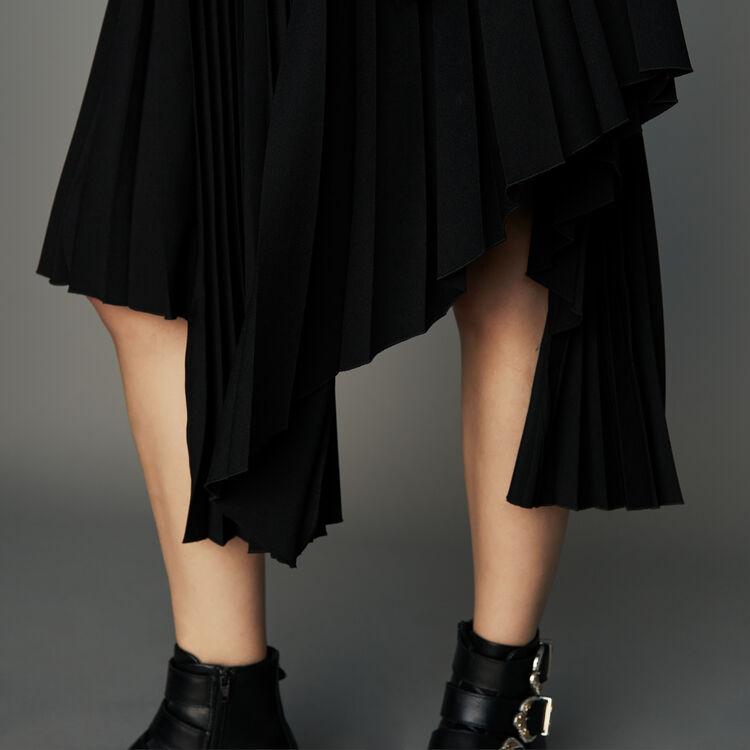 Gonna asimmetrica plissettata : Prêt-à-porter colore Nero