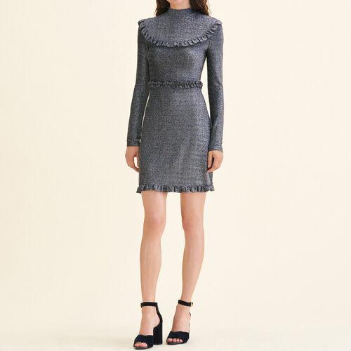 Abito corto in maglia con volant : Vestiti colore Argento