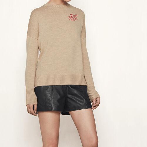 Pullover in cachemire con ricamo : Pullover e cardigan colore Cammello