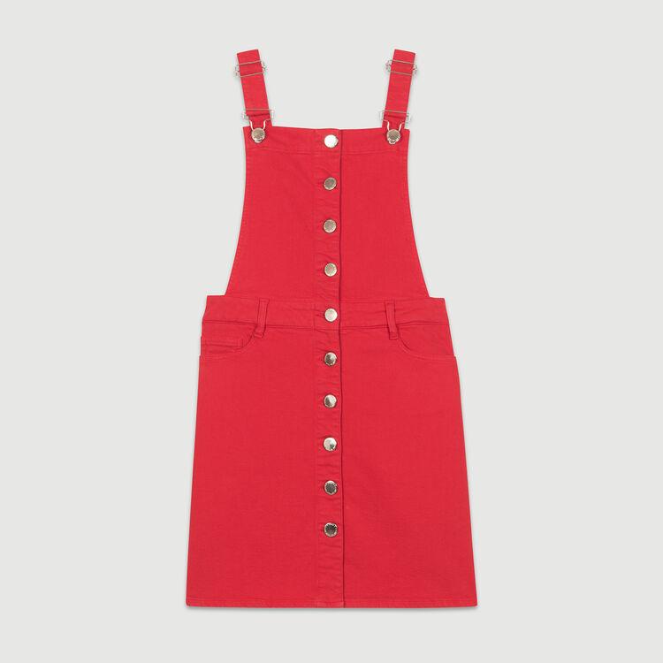 Vestito-salopette in jeans : Vestiti colore ROUGE