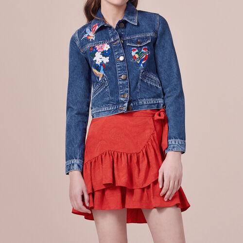 Giubbotto di jeans con ricami : Giacche e giubbotti colore Blu
