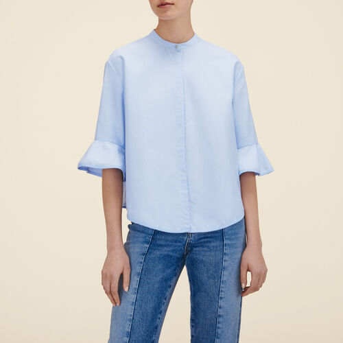 Chemise rayée en popeline : Camicie colore Ceruleo