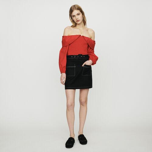 Gonna corta con gioco di impunture : Gonne e shorts colore Nero