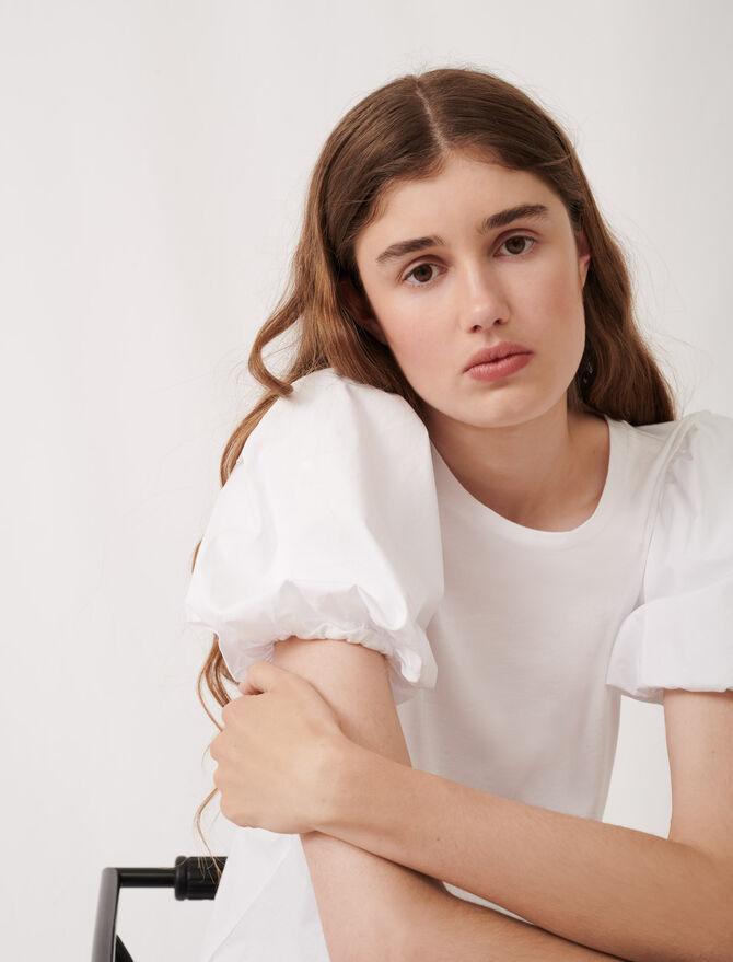 T-shirt bianca in materiali misti - eco-sostenibile - MAJE