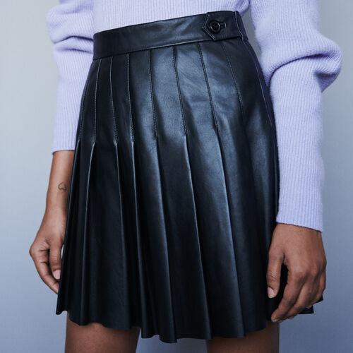 Gonna plissettata in pelle : Gonne e shorts colore Nero
