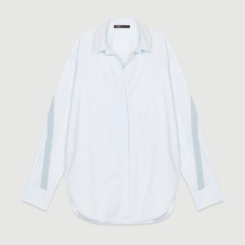 Camicia oversize con gros-grain : Camicie colore Ceruleo