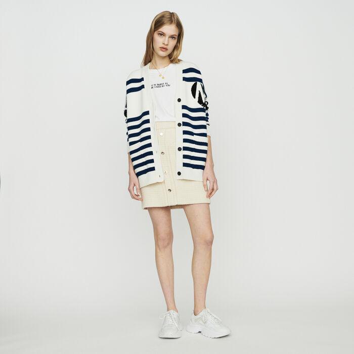 Cardigan a righe ricamato con paillettes : Pullover e cardigan colore ECRU