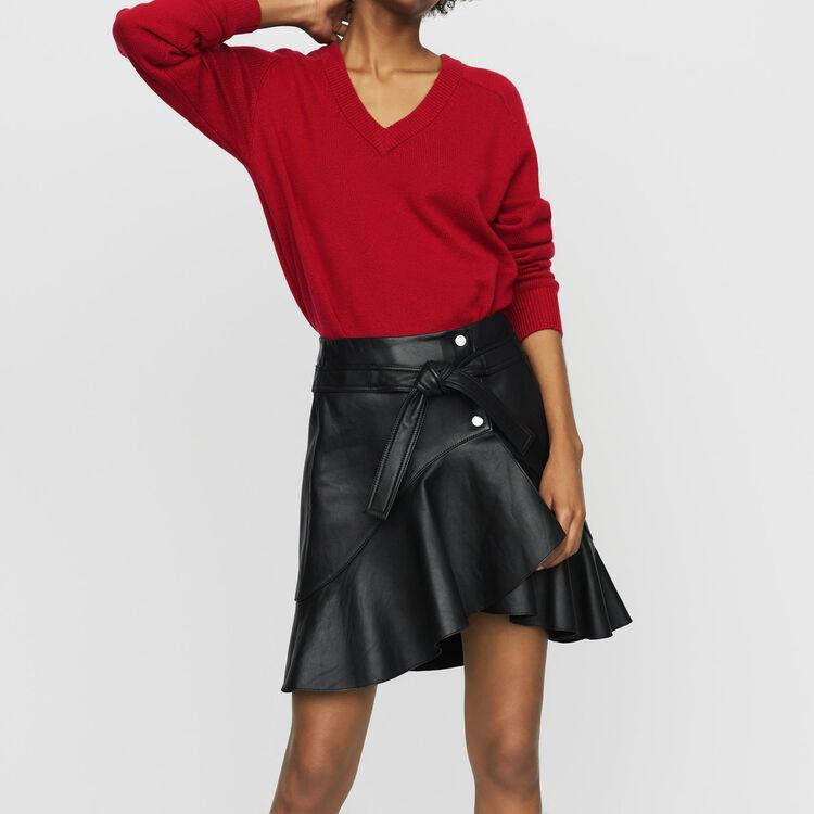 Gonna asimmetrica in pelle : Gonne e shorts colore Nero