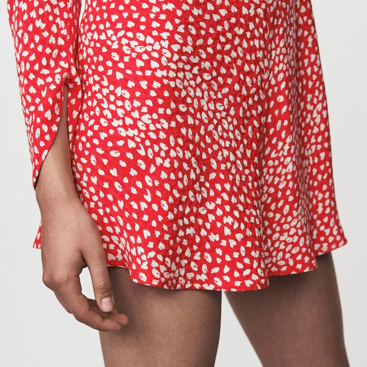 Vestito arricciato in  jacquard stampato : Vestiti colore Rosso