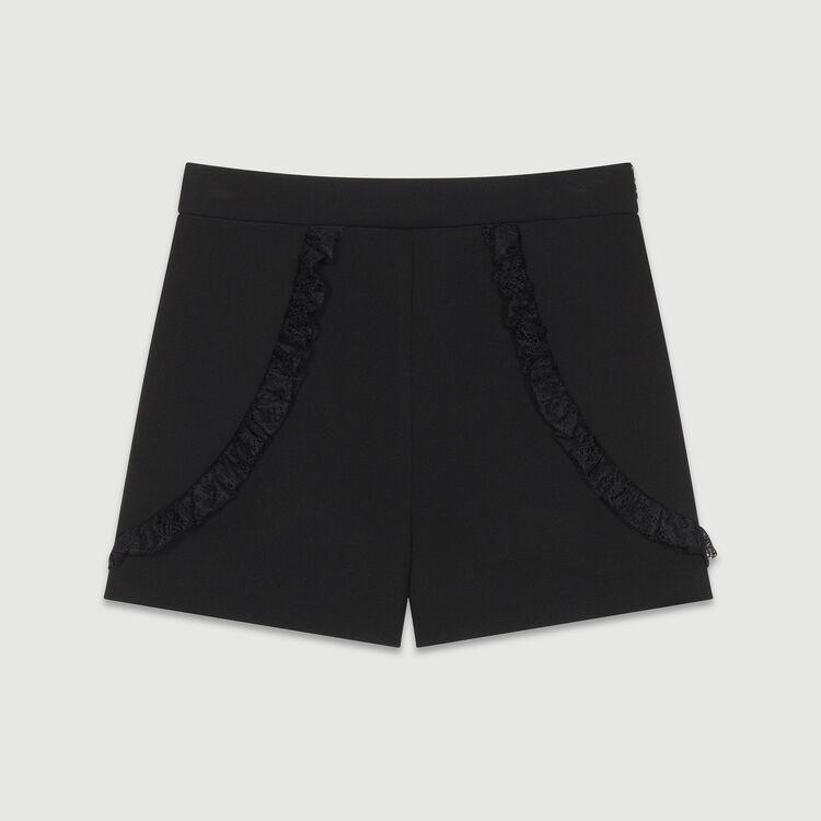 Pantaloncini con dettagli in pizzo : Gonne e shorts colore Nero