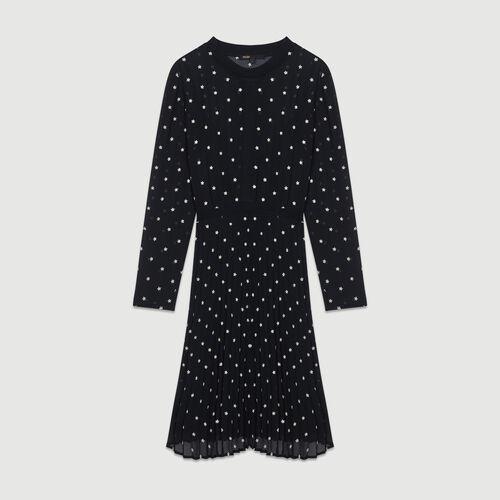 Vestito plissettato con ricami : Vestiti colore NERO