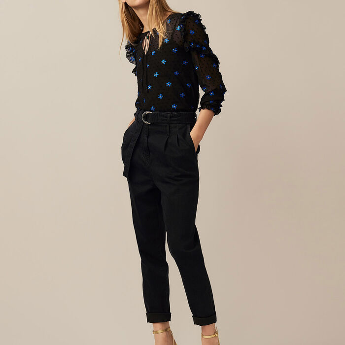 Pantaloni a pinces in denim : Pantaloni colore Nero