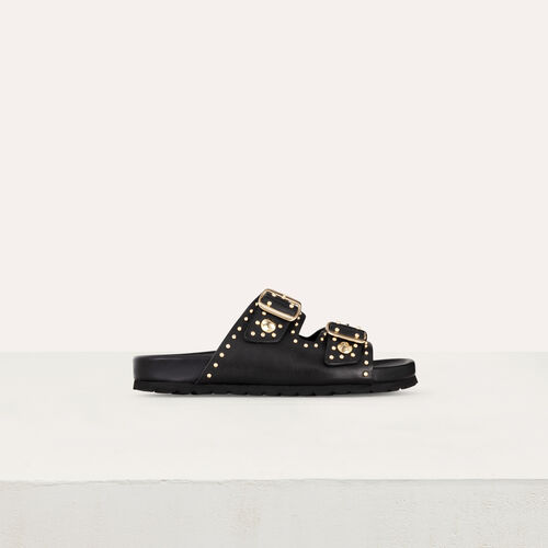 Sandali in pelle ornati di borchie : Scape basse colore NERO