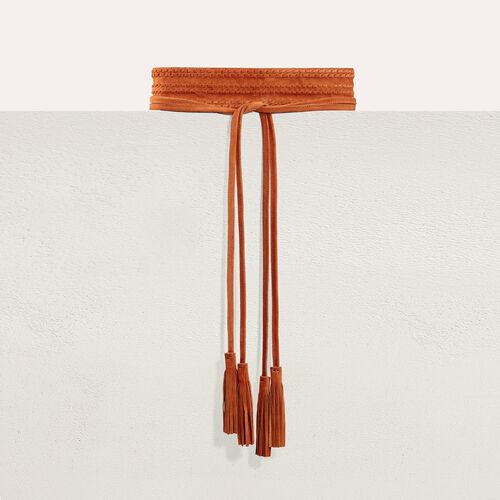 Cintura alta scamosciata da annodare : Accessori colore Cammello