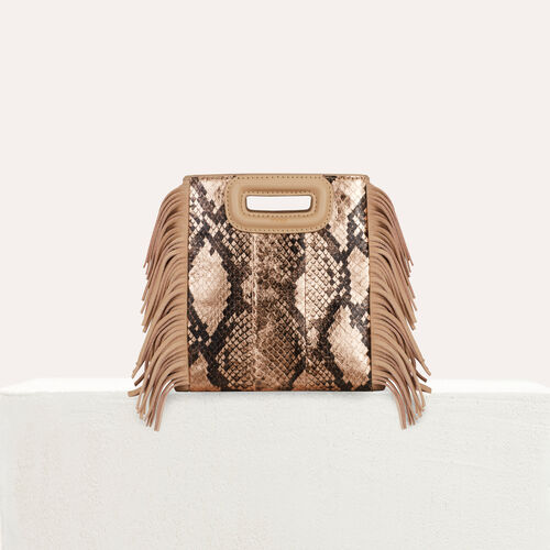 Borsa M Mini in pelle di serpente : M Mini colore Beige