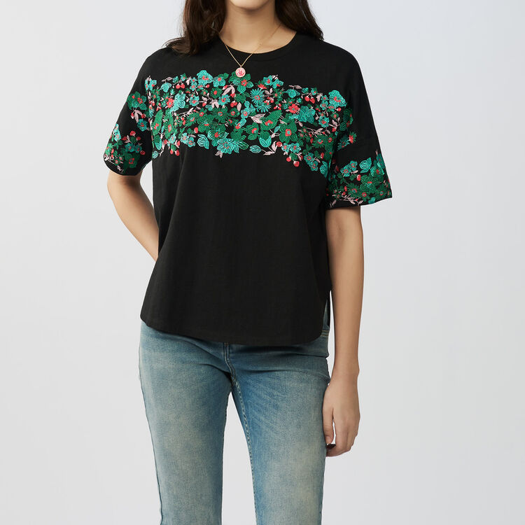 Tee-shirt loose ricamato in cotone : T-Shirts colore Nero