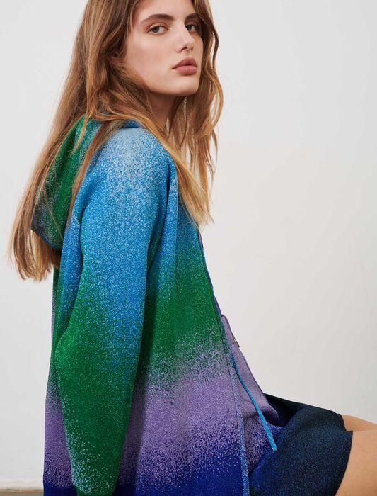 Cardigan con cappuccio in maglia lurex : Pullover e cardigan colore Bleu/Vert/Violet