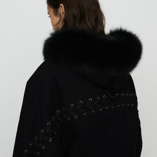 Parka allacciato con cappuccio : Cappotti colore Nero
