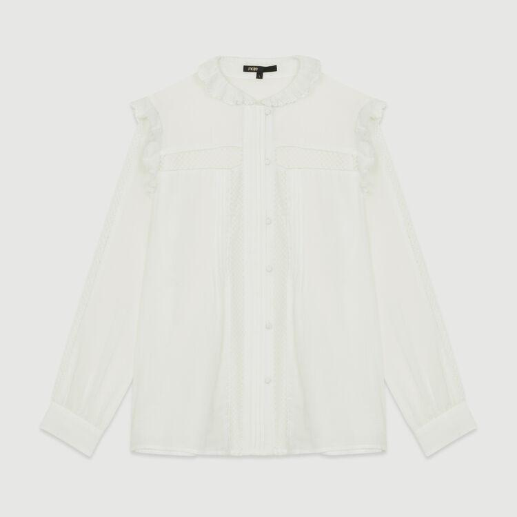 Camicetta in voile di cotone con pizzo : Prêt-à-porter colore Bianco