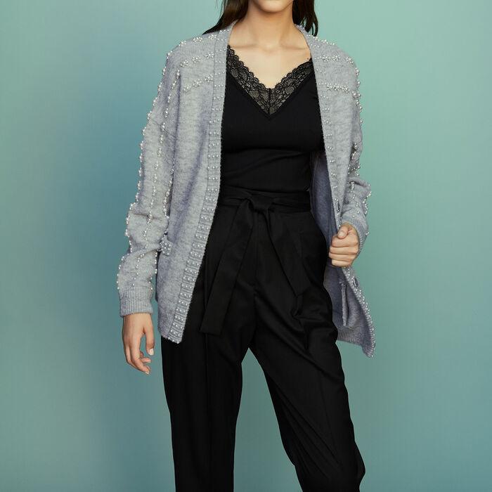 Cardigan lungo in maglia con perle : Maglieria colore Grigio