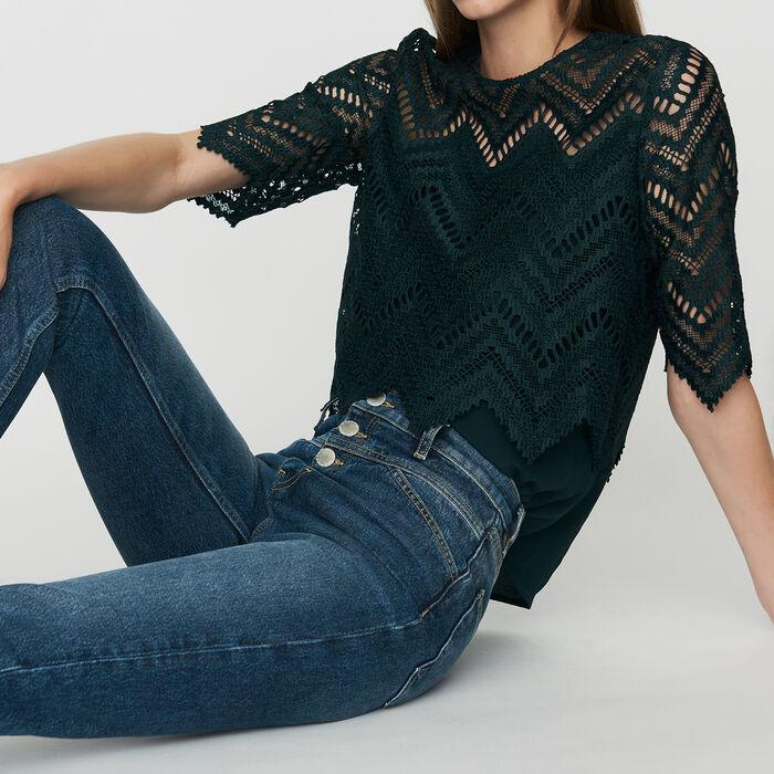Jeans dritti a vita alta : Jeans colore Blu