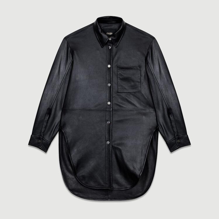 Camicia lunga in pelle : Camicie colore NERO
