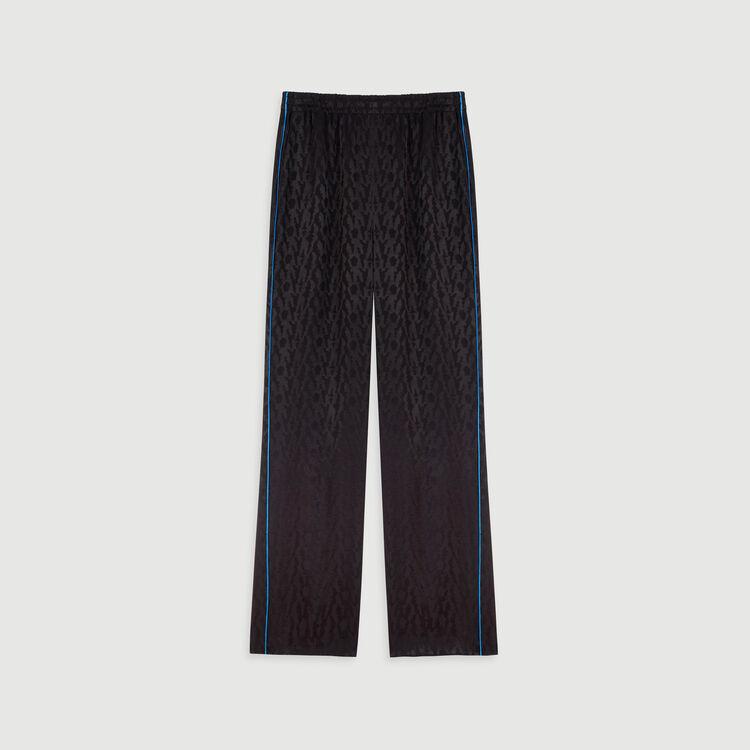 Pantaloni fluidi in jacquard satinato : Pantaloni e Jeans colore Nero