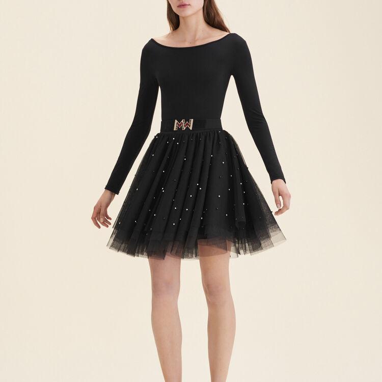 Gonna corta in tulle con perle : Gonne e shorts colore Nero