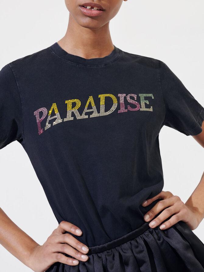 "T-shirt ""Paradise"" con strass - T-Shirts - MAJE"