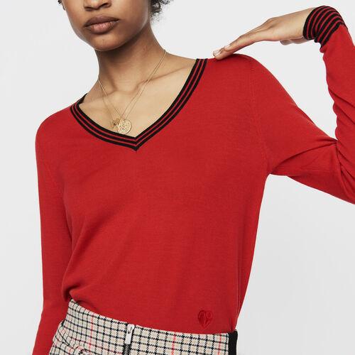 Maglia fine in lana merinos : Tartan colore Rosso