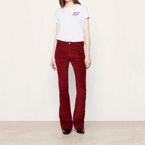 Pantaloni in velluto a coste : Pantaloni & jeans colore Bordeaux
