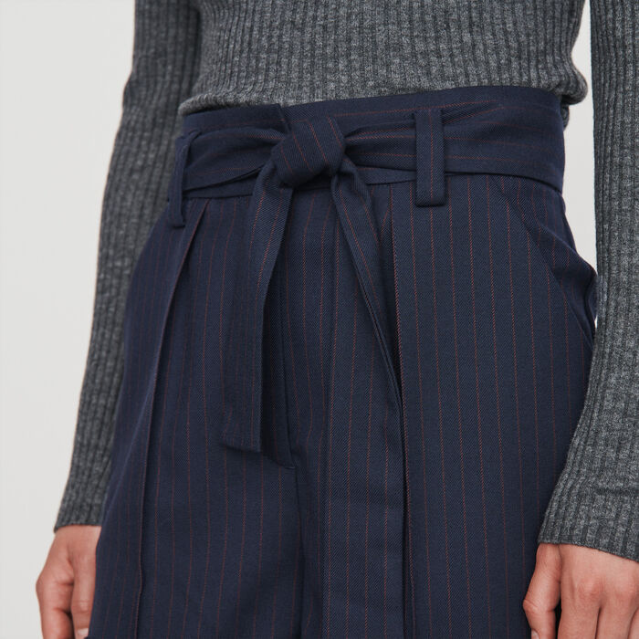 Short a righe tennis con cintura : Gonne e shorts colore Blu Marino