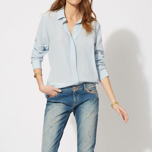 Camicia basic in seta : Tops colore Blu