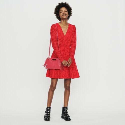 Vestito in pizzo geometrico : Vestiti colore Rosso