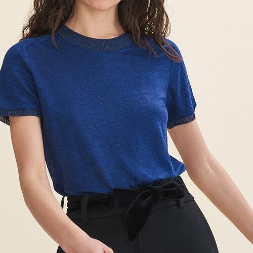 T-shirt in lino : T-shirts colore Blu Marino