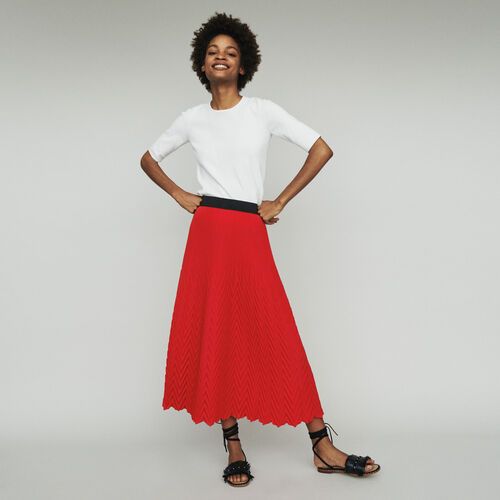 Gonna lunga plissettata chevron : Gonne e shorts colore Rosso