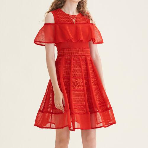 Abito senza maniche in maglia a rete : Vestiti colore Rosso