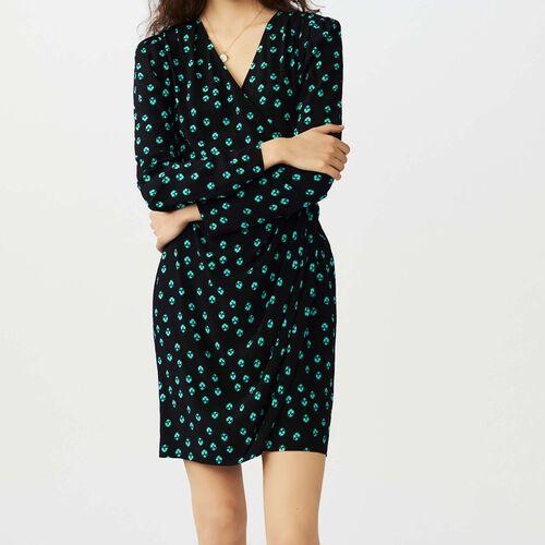 Printed V collar dress : Vestiti colore IMPRIME