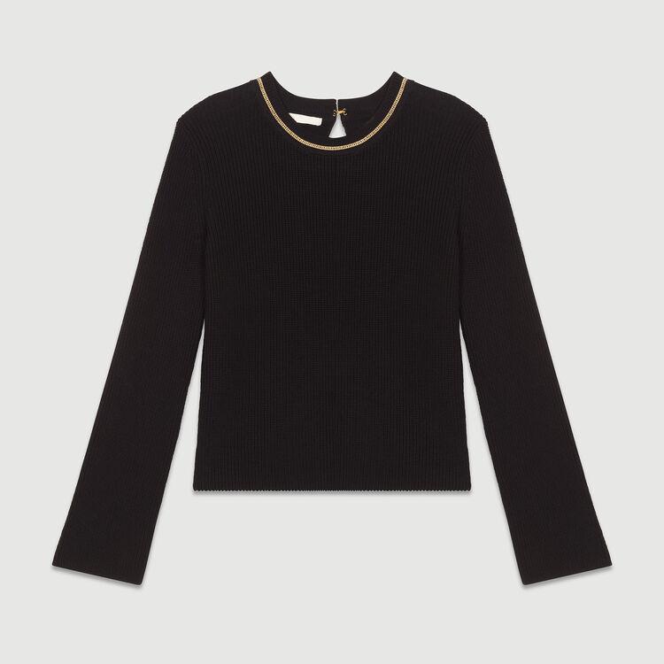 Maglia fine in coton misto : Maglieria colore Nero