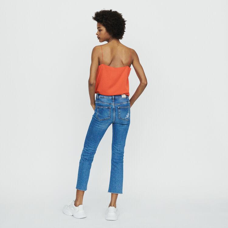 Jeans dritti con frange e ricami : Pantaloni e Jeans colore Denim