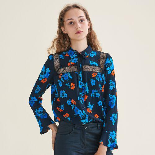 Camicia stampata con pizzo : Camicie colore IMPRIME