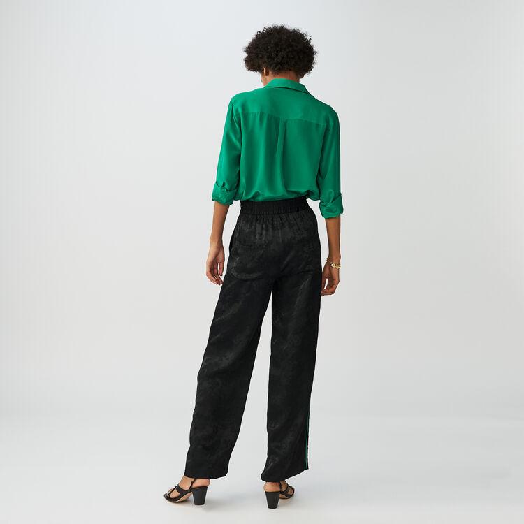 Pantaloni loose in jacquard : Pantaloni colore Nero