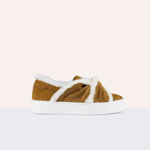 Sneaker con nodo in pelle scamosciata : Scarpe colore Cammello