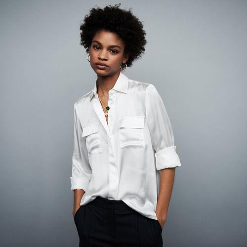 Camicia in satin di seta : Tops e Camicie colore Terracotta
