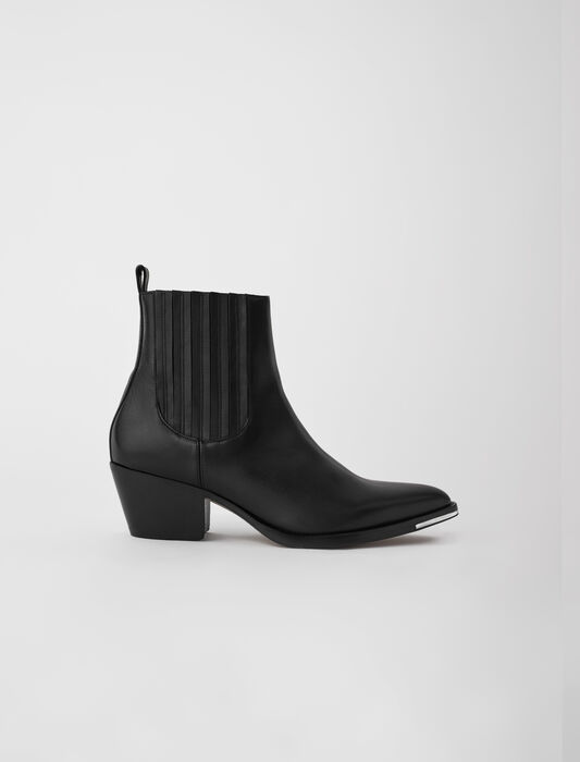Stivaletti stile western in pelle : Stivali e Stivaletti colore Nero