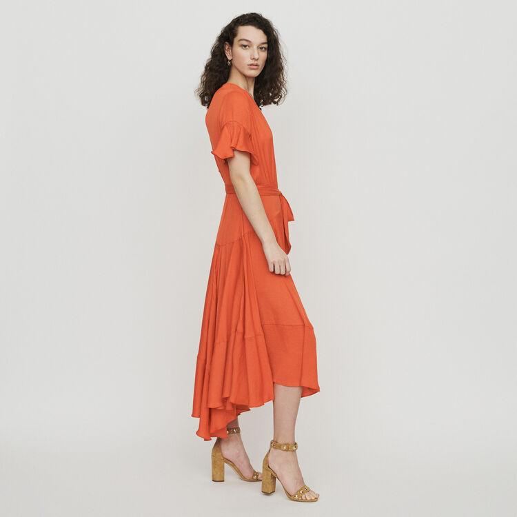 Vestito lungo con volant : Vestiti colore Corallo