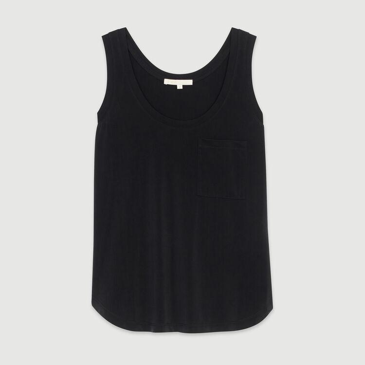 Canottiera collo rotondo in cupro : T-Shirts colore NERO